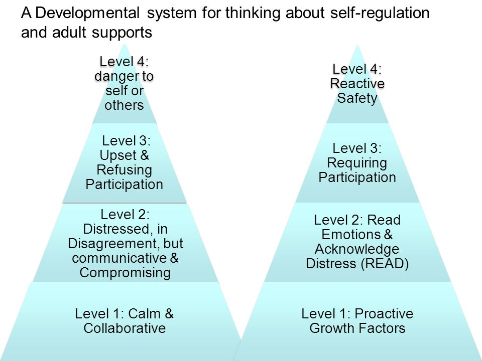Level 4: danger to self or others Level 3: Upset & Refusing Participation Level 2: Distressed, in Disagreement, but communicative & Compromising Level 1: Calm & Collaborative Level 4: Reactive Safety Level 3: Requiring Participation Level 2: Read Emotions & Acknowledge Distress (READ) Level 1: Proactive Growth Factors A Developmental system for thinking about self-regulation and adult supports
