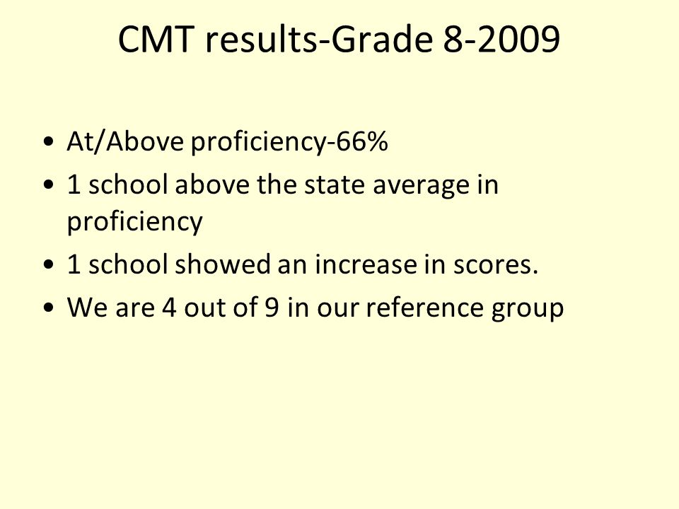 CMT results-Grade 8-2009 At/Above proficiency-66% 1 school above the state average in proficiency 1 school showed an increase in scores.