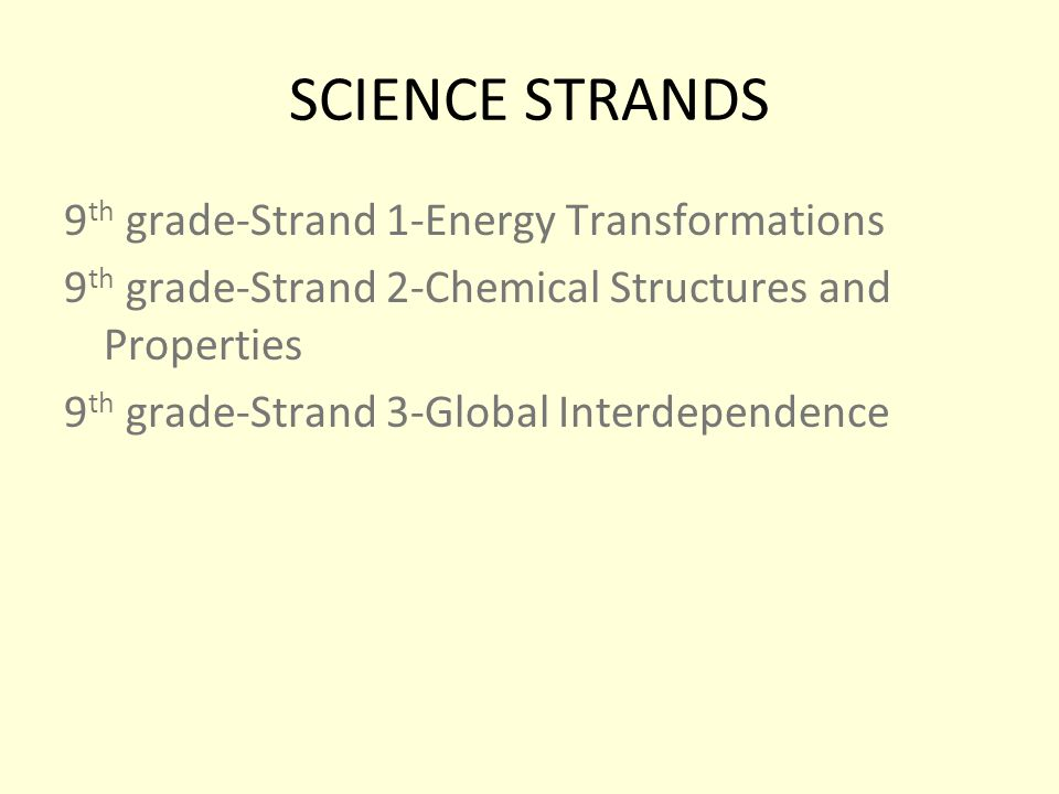 SCIENCE STRANDS 9 th grade-Strand 1-Energy Transformations 9 th grade-Strand 2-Chemical Structures and Properties 9 th grade-Strand 3-Global Interdependence