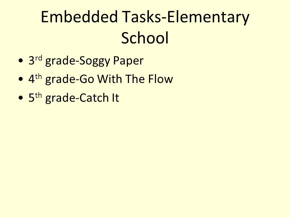 Embedded Tasks-Elementary School 3 rd grade-Soggy Paper 4 th grade-Go With The Flow 5 th grade-Catch It