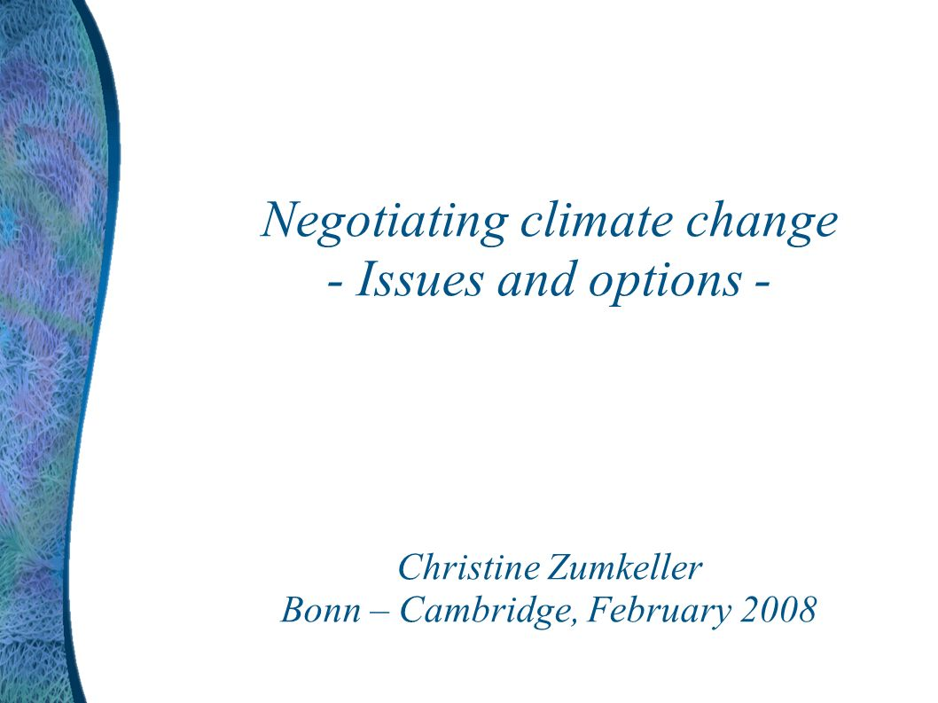Negotiating climate change - Issues and options - Christine Zumkeller Bonn – Cambridge, February 2008