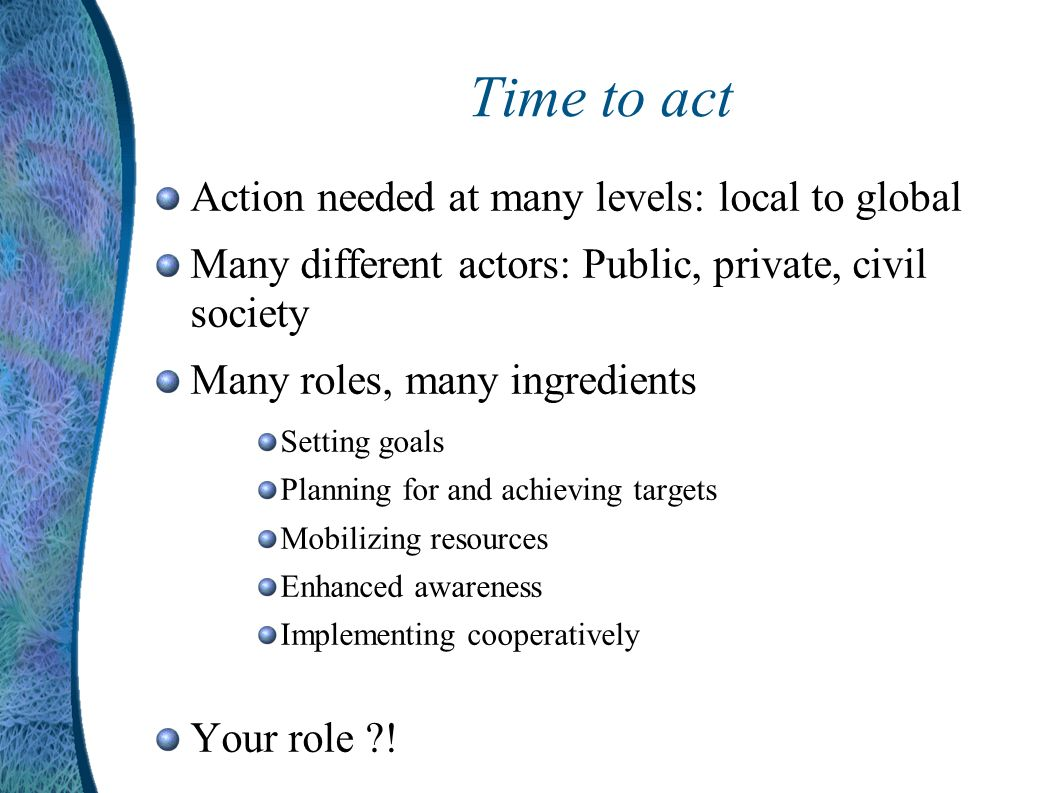 Time to act Action needed at many levels: local to global Many different actors: Public, private, civil society Many roles, many ingredients Setting goals Planning for and achieving targets Mobilizing resources Enhanced awareness Implementing cooperatively Your role !