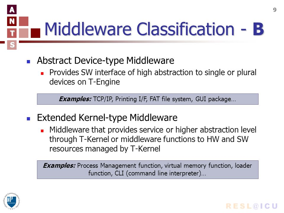A N T S 9 Middleware Classification - B Abstract Device-type Middleware Provides SW interface of high abstraction to single or plural devices on T-Engine Extended Kernel-type Middleware Middleware that provides service or higher abstraction level through T-Kernel or middleware functions to HW and SW resources managed by T-Kernel Examples: TCP/IP, Printing I/F, FAT file system, GUI package… Examples: Process Management function, virtual memory function, loader function, CLI (command line interpreter)…