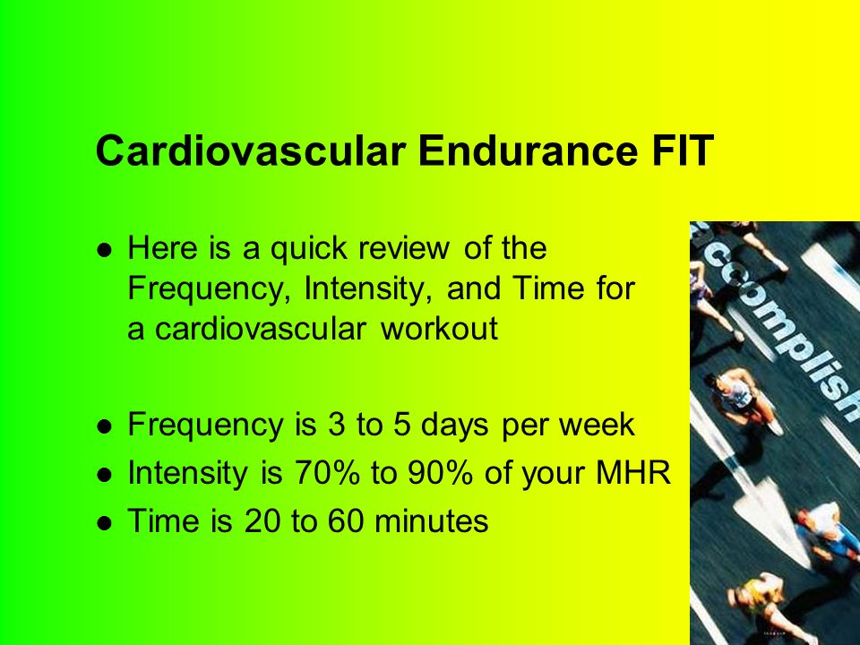Cardiovascular Endurance FIT Here is a quick review of the Frequency, Intensity, and Time for a cardiovascular workout Frequency is 3 to 5 days per week Intensity is 70% to 90% of your MHR Time is 20 to 60 minutes