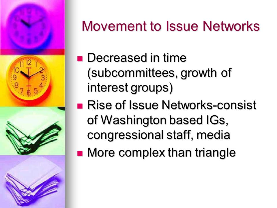 Movement to Issue Networks Decreased in time (subcommittees, growth of interest groups) Decreased in time (subcommittees, growth of interest groups) Rise of Issue Networks-consist of Washington based IGs, congressional staff, media Rise of Issue Networks-consist of Washington based IGs, congressional staff, media More complex than triangle More complex than triangle