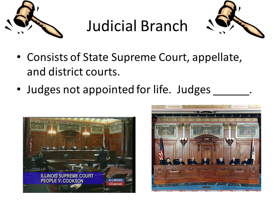 Judicial Branch Consists of State Supreme Court, appellate, and district courts.