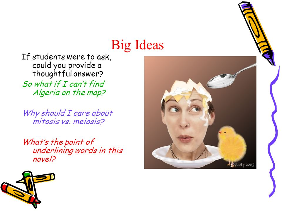 Big Ideas If students were to ask, could you provide a thoughtful answer.