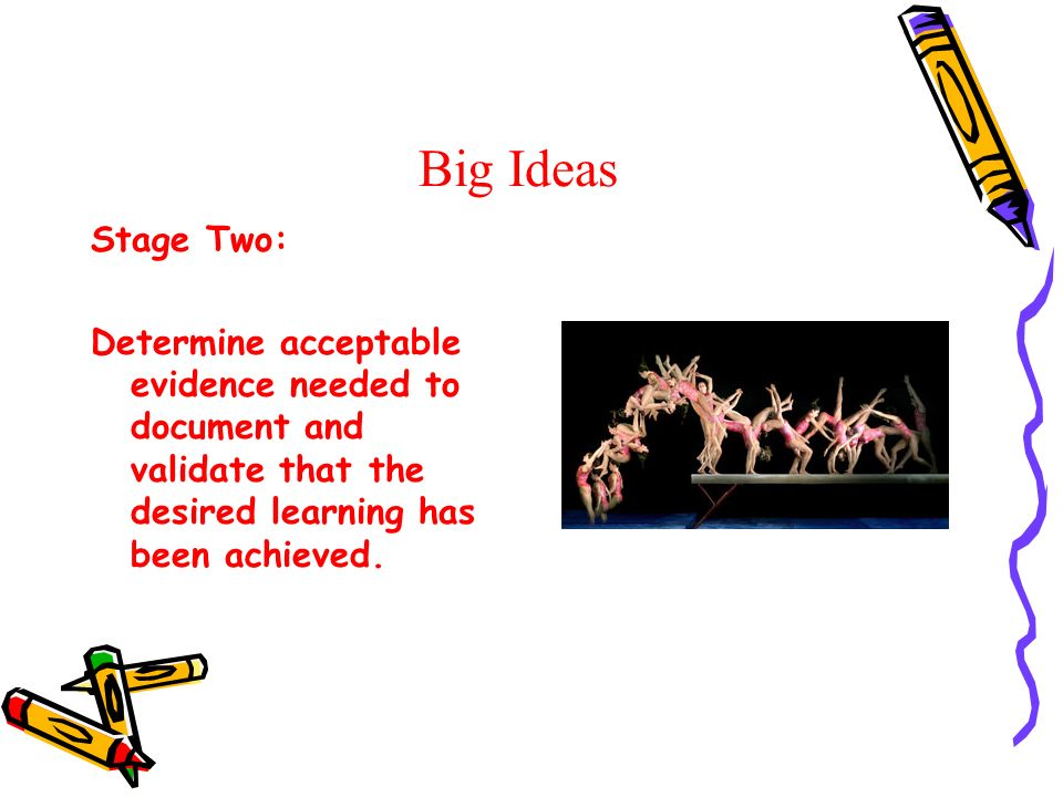 Big Ideas Stage Two: Determine acceptable evidence needed to document and validate that the desired learning has been achieved.
