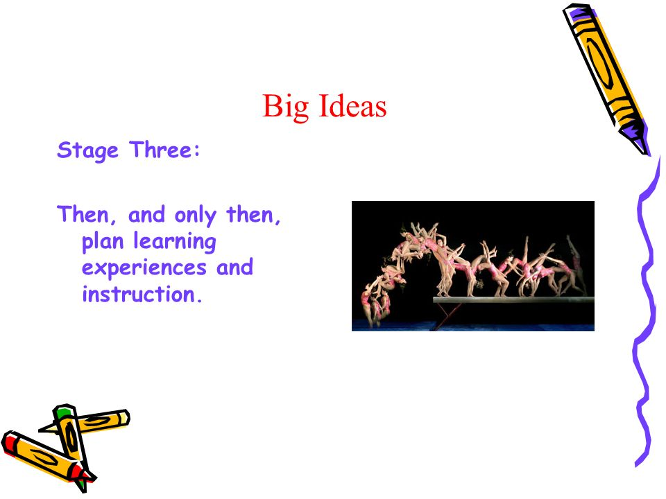 Big Ideas Stage Three: Then, and only then, plan learning experiences and instruction.