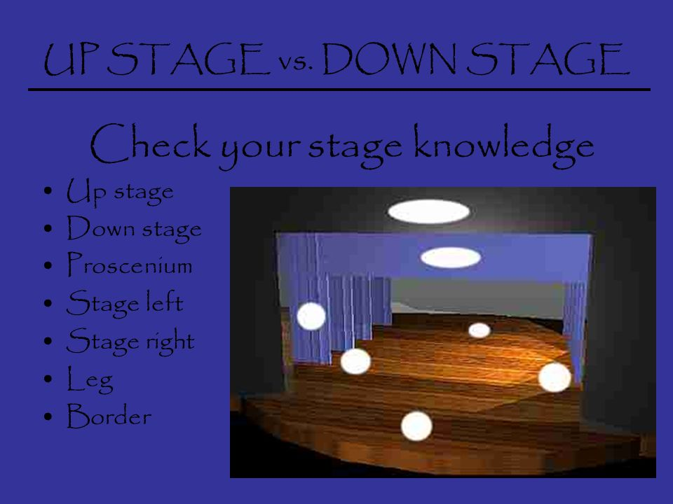 UP STAGE vs.