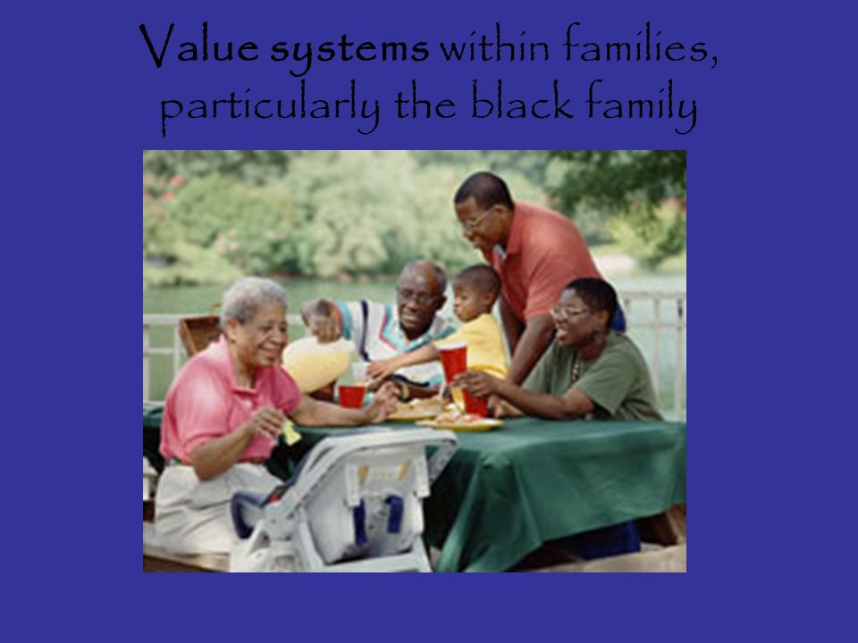 Value systems within families, particularly the black family