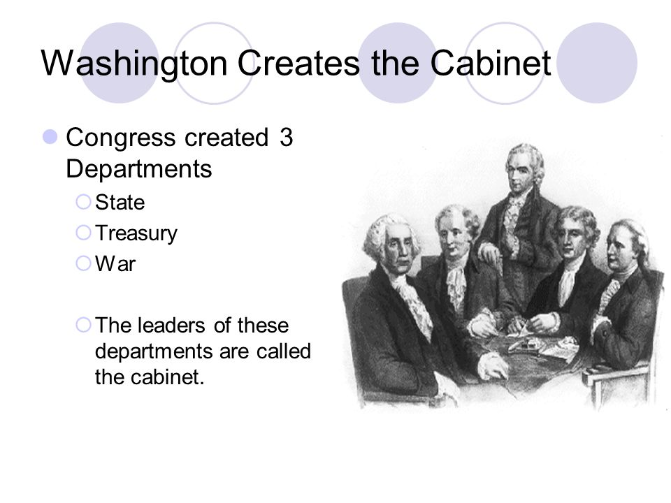 Washington Creates the Cabinet Congress created 3 Departments State Treasury War The leaders of these departments are called the cabinet.