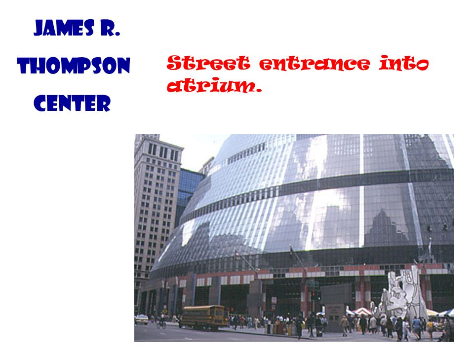 James R. Thompson Center Street entrance into atrium.