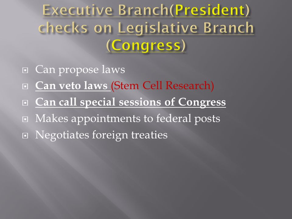 Can propose laws Can veto laws (Stem Cell Research) Can call special sessions of Congress Makes appointments to federal posts Negotiates foreign treaties