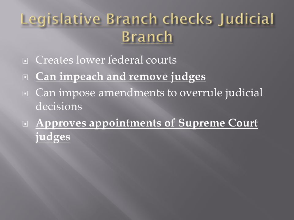 Creates lower federal courts Can impeach and remove judges Can impose amendments to overrule judicial decisions Approves appointments of Supreme Court judges