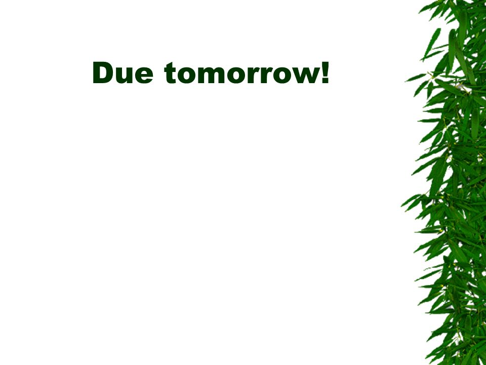 Due tomorrow!