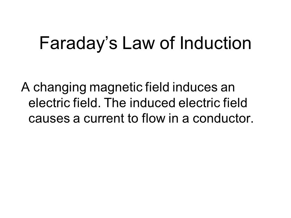 Faradays Law of Induction A changing magnetic field induces an electric field.