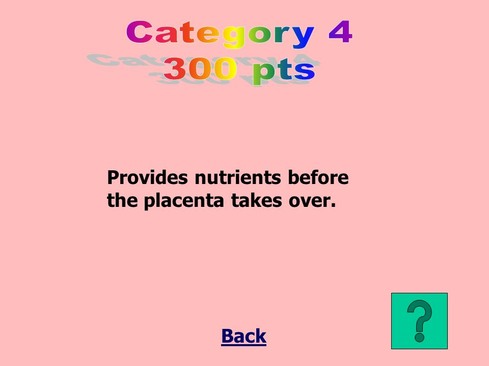 Provides nutrients before the placenta takes over. Back