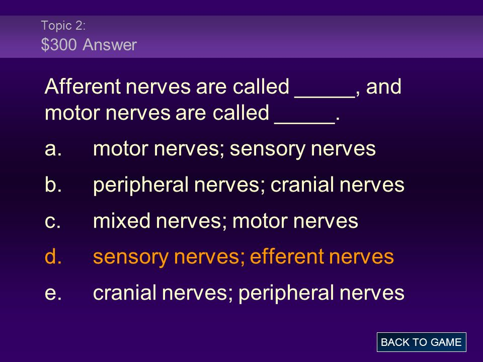 Topic 2: $300 Answer Afferent nerves are called _____, and motor nerves are called _____.