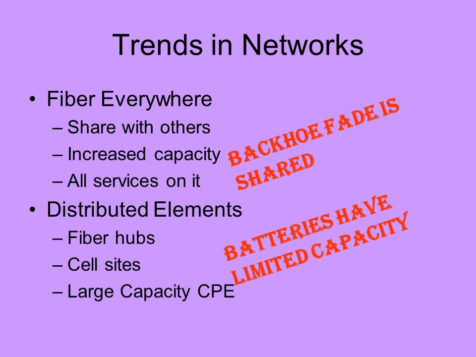 Trends in Networks Fiber Everywhere –Share with others –Increased capacity –All services on it Distributed Elements –Fiber hubs –Cell sites –Large Capacity CPE Backhoe fade is shared BATTERIES HAVE LIMITED CAPACITY