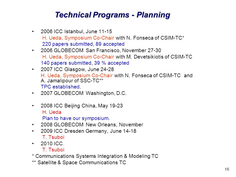 16 Technical Programs - Planning 2006 ICC Istanbul, June 11-15 H.