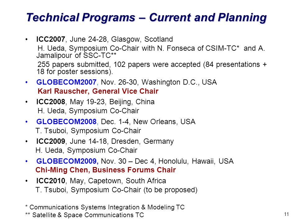 11 Technical Programs – Current and Planning ICC2007, June 24-28, Glasgow, Scotland H.