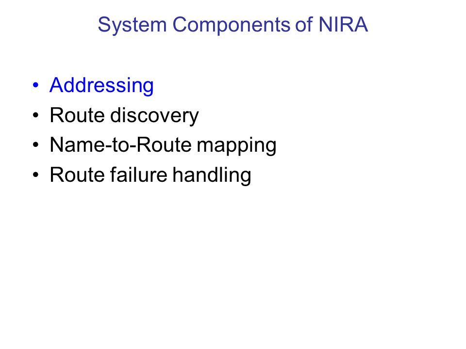 Addressing Route discovery Name-to-Route mapping Route failure handling System Components of NIRA
