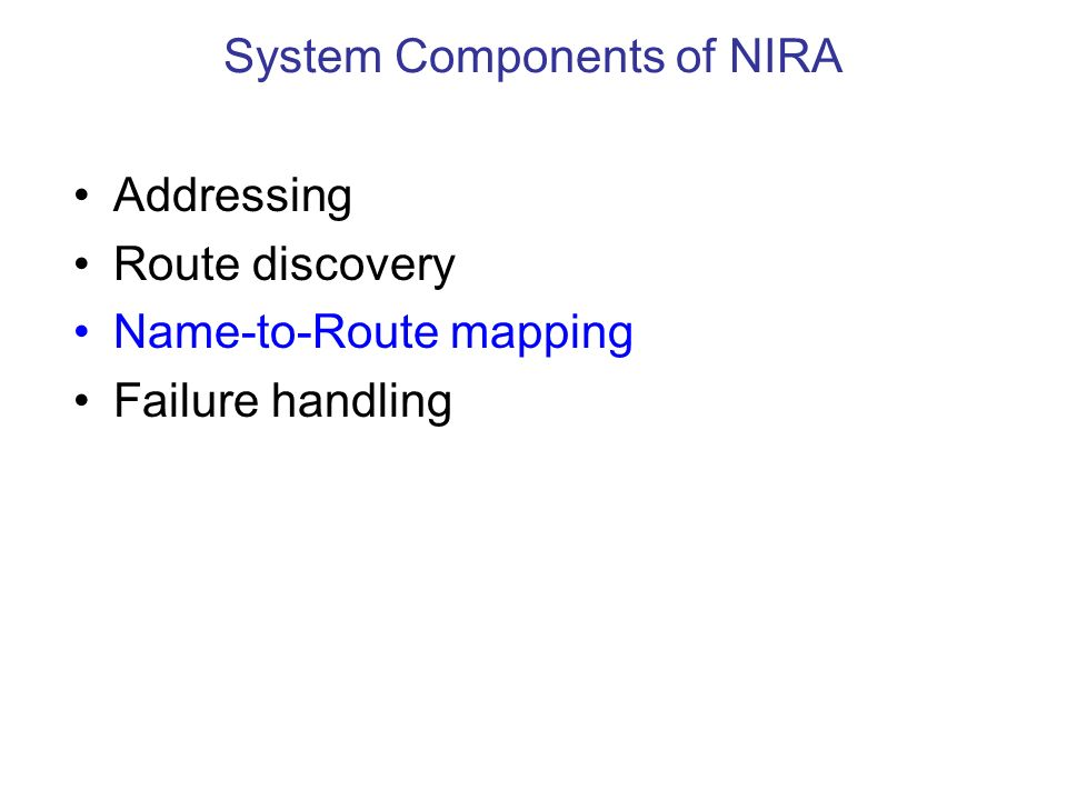 Addressing Route discovery Name-to-Route mapping Failure handling System Components of NIRA