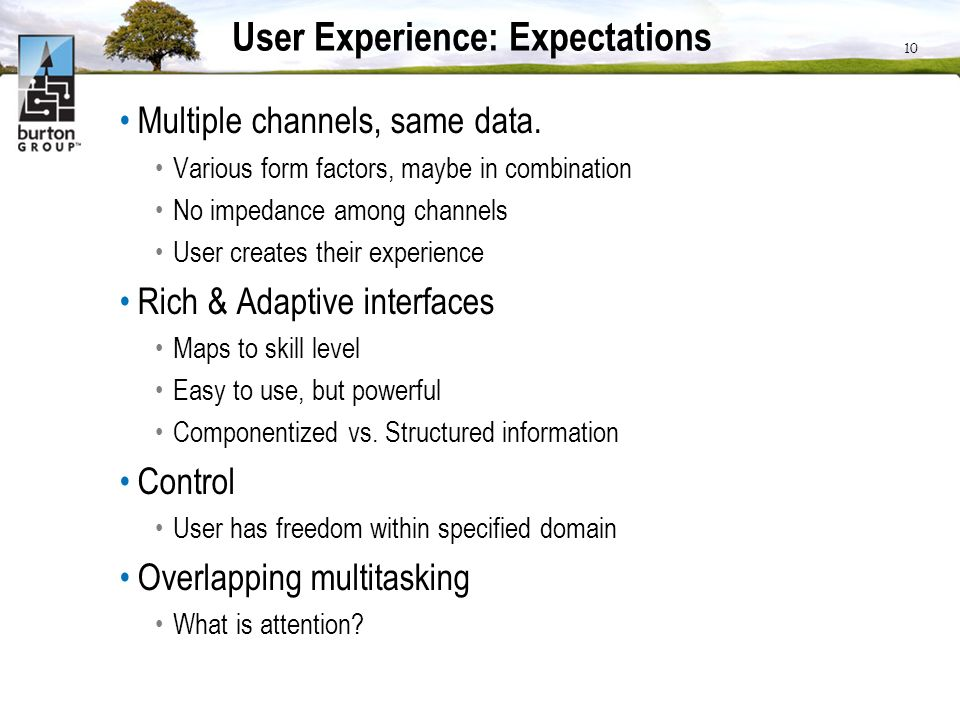 User Experience: Expectations Multiple channels, same data.