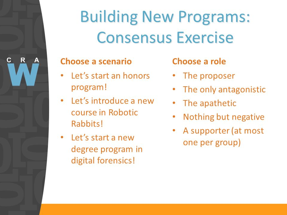 Building New Programs: Consensus Exercise Choose a scenario Lets start an honors program.
