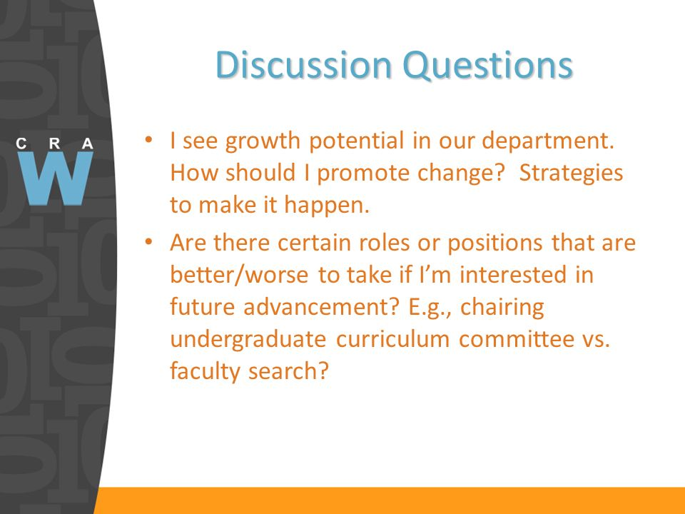 Discussion Questions I see growth potential in our department.