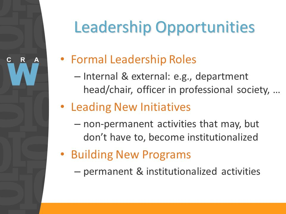 Leadership Opportunities Formal Leadership Roles – Internal & external: e.g., department head/chair, officer in professional society, … Leading New Initiatives – non-permanent activities that may, but dont have to, become institutionalized Building New Programs – permanent & institutionalized activities
