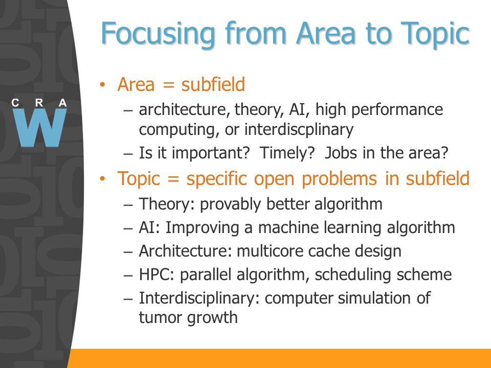 Focusing from Area to Topic Area = subfield – architecture, theory, AI, high performance computing, or interdiscplinary – Is it important.