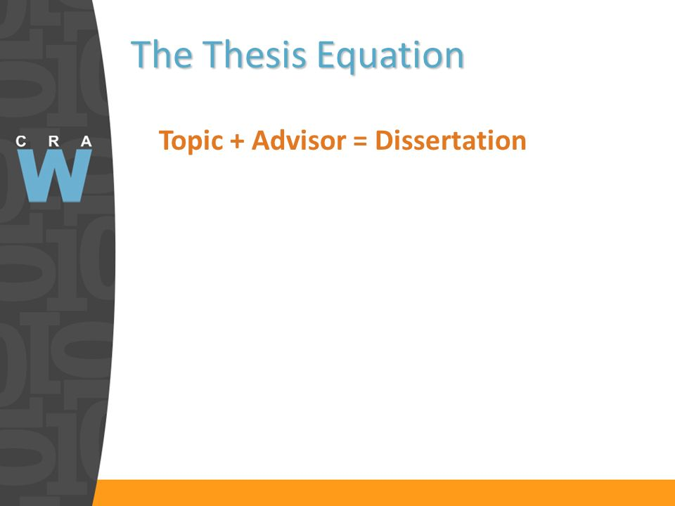 The Thesis Equation Topic + Advisor = Dissertation n
