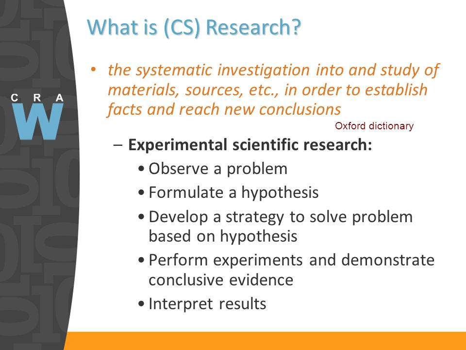 What is (CS) Research.