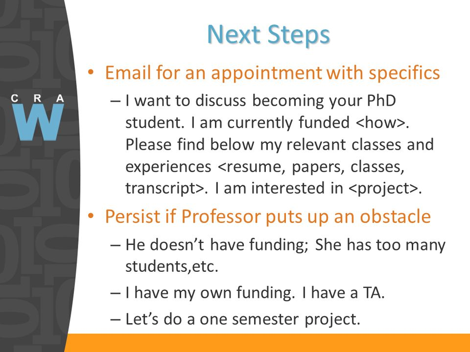 Email for an appointment with specifics – I want to discuss becoming your PhD student.