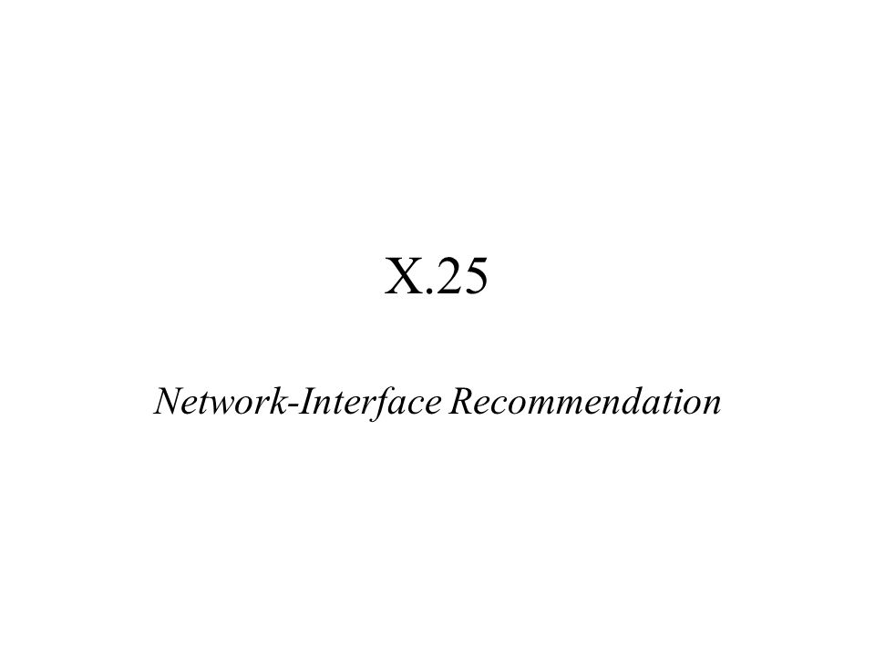 X.25 Network-Interface Recommendation
