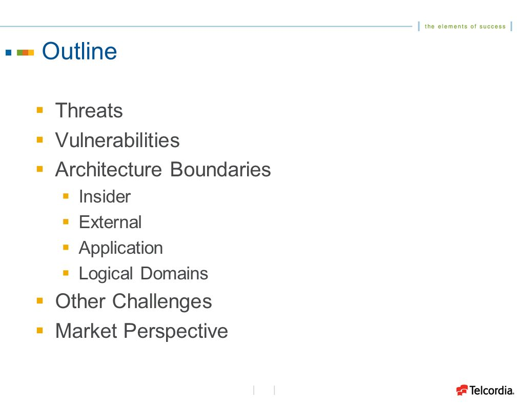 Outline Threats Vulnerabilities Architecture Boundaries Insider External Application Logical Domains Other Challenges Market Perspective