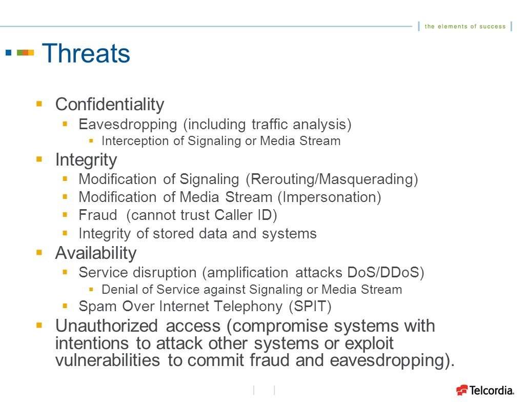 Threats Confidentiality Eavesdropping (including traffic analysis) Interception of Signaling or Media Stream Integrity Modification of Signaling (Rerouting/Masquerading) Modification of Media Stream (Impersonation) Fraud (cannot trust Caller ID) Integrity of stored data and systems Availability Service disruption (amplification attacks DoS/DDoS) Denial of Service against Signaling or Media Stream Spam Over Internet Telephony (SPIT) Unauthorized access (compromise systems with intentions to attack other systems or exploit vulnerabilities to commit fraud and eavesdropping).