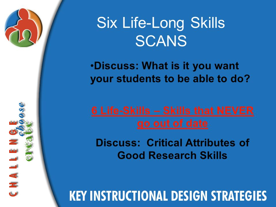 Six Life-Long Skills SCANS Discuss: What is it you want your students to be able to do.