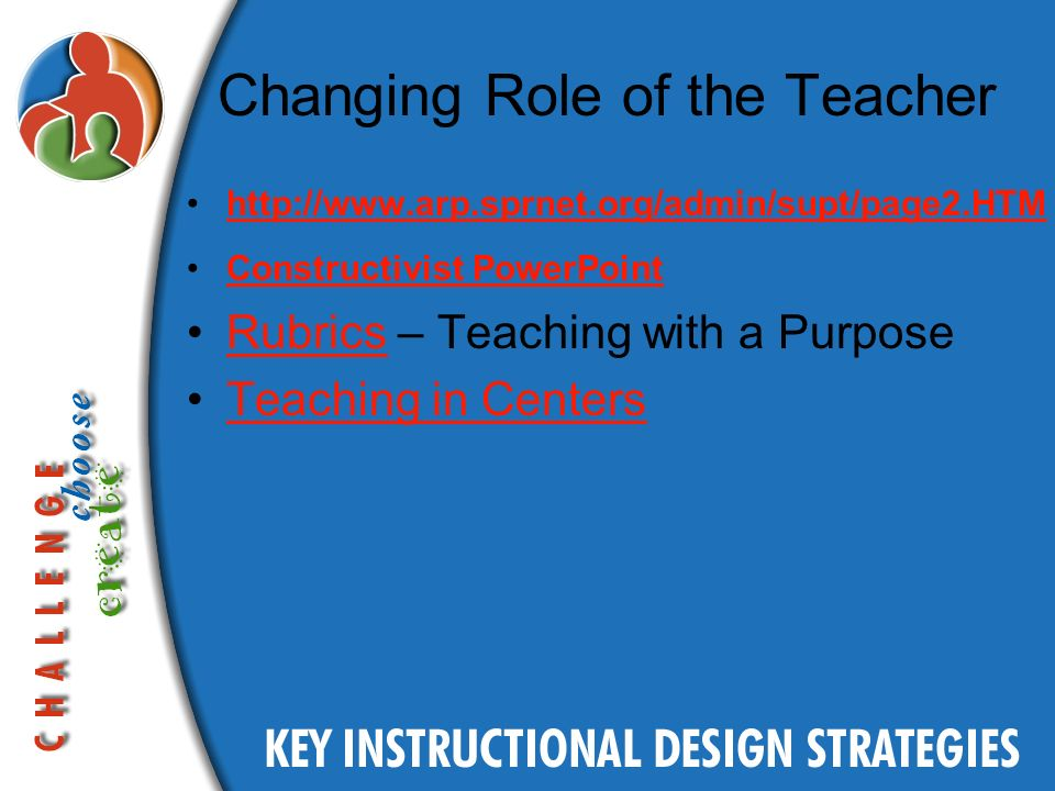 Changing Role of the Teacher http://www.arp.sprnet.org/admin/supt/page2.HTM Constructivist PowerPoint Rubrics – Teaching with a PurposeRubrics Teaching in Centers