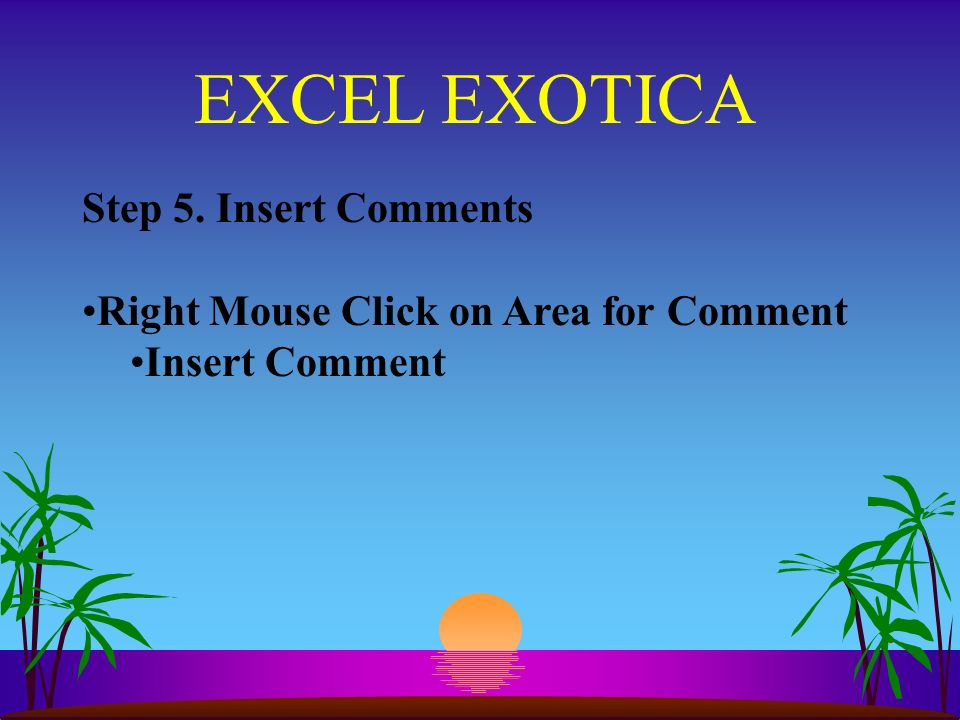 EXCEL EXOTICA Step 5. Insert Comments Right Mouse Click on Area for Comment Insert Comment