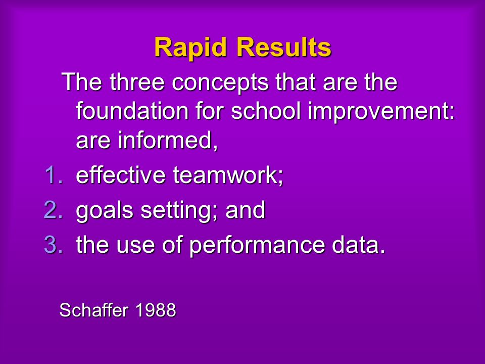Rapid Results The three concepts that are the foundation for school improvement: are informed, The three concepts that are the foundation for school improvement: are informed, 1.effective teamwork; 2.goals setting; and 3.the use of performance data.