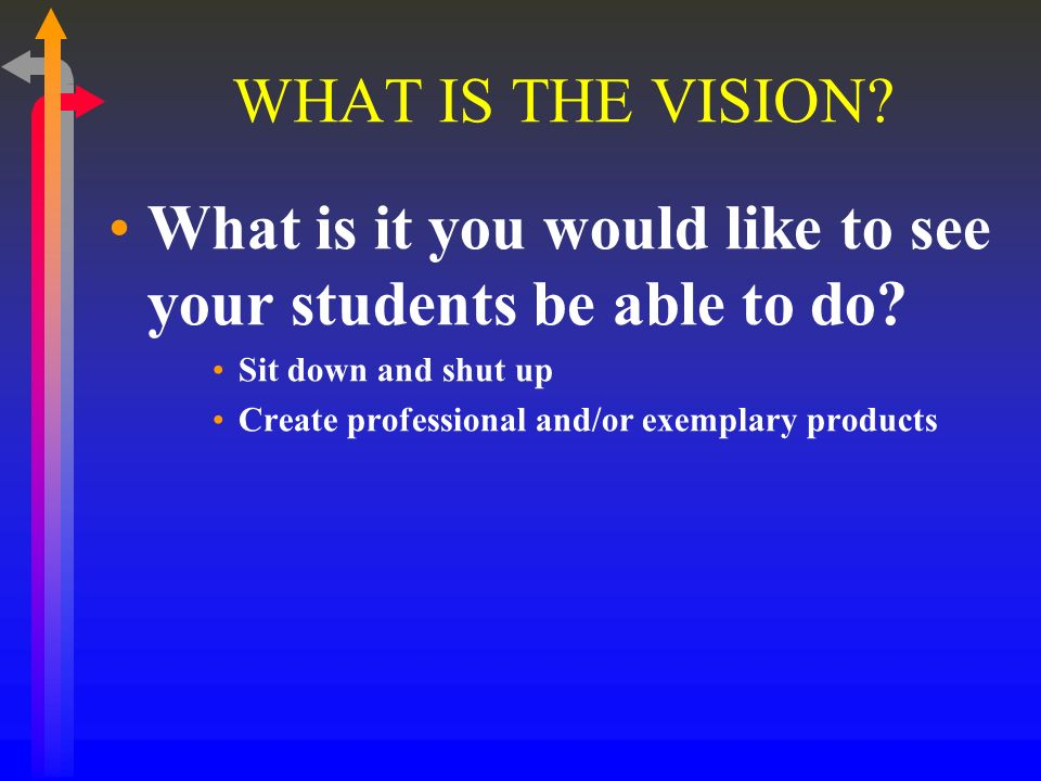 WHAT IS THE VISION. What is it you would like to see your students be able to do.