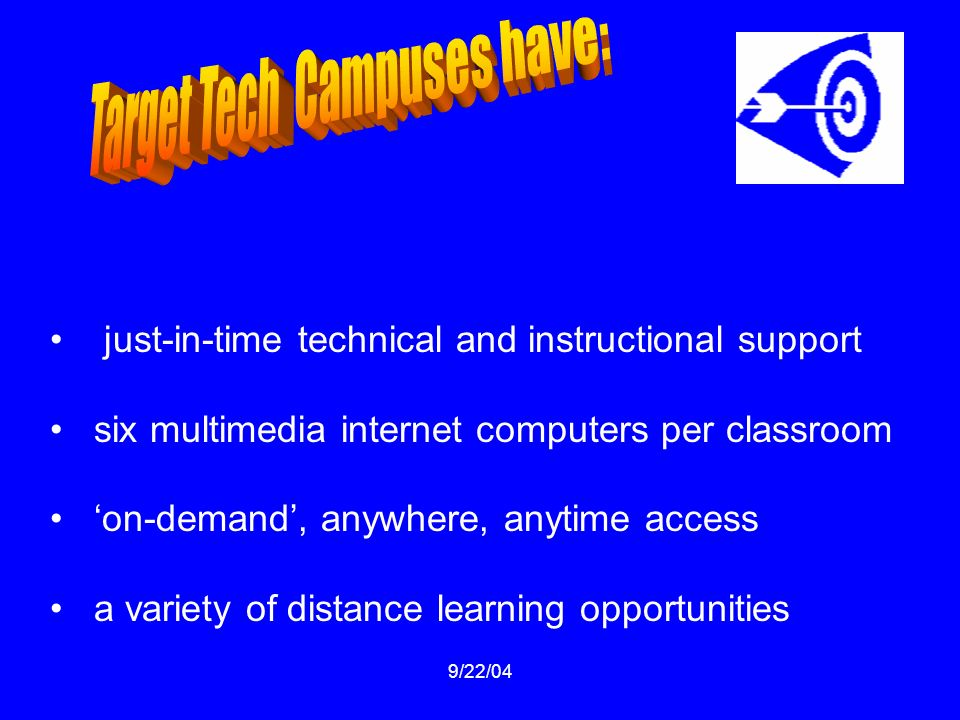 9/22/04 just-in-time technical and instructional support six multimedia internet computers per classroom on-demand, anywhere, anytime access a variety of distance learning opportunities