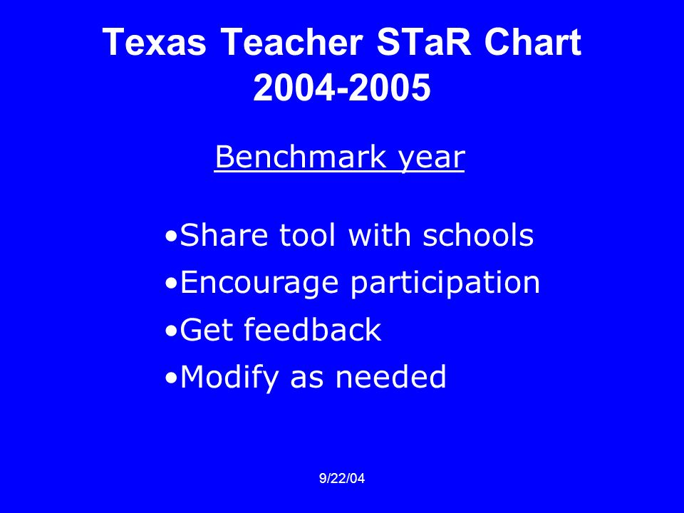 9/22/04 Texas Teacher STaR Chart Benchmark year Share tool with schools Encourage participation Get feedback Modify as needed
