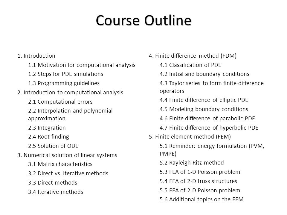 Course Outline 1.