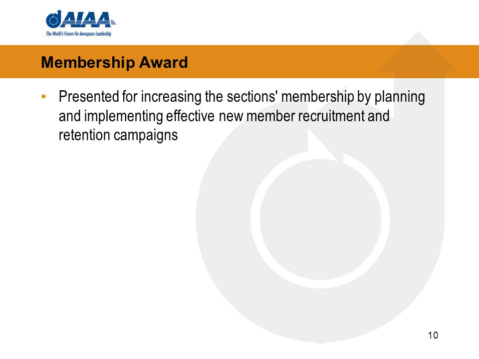 10 Membership Award Presented for increasing the sections membership by planning and implementing effective new member recruitment and retention campaigns