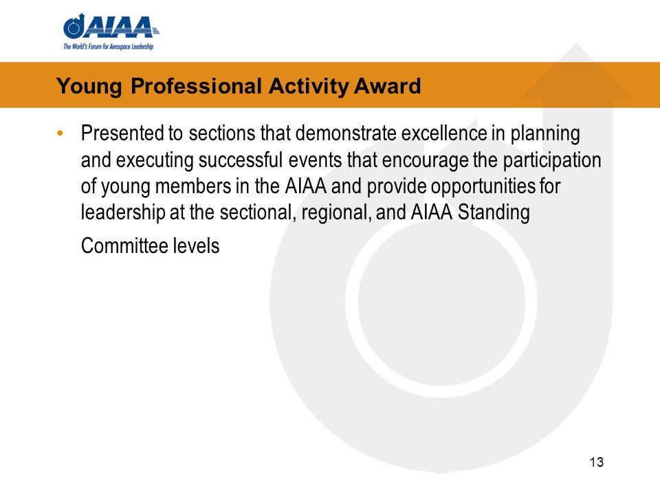 13 Young Professional Activity Award Presented to sections that demonstrate excellence in planning and executing successful events that encourage the participation of young members in the AIAA and provide opportunities for leadership at the sectional, regional, and AIAA Standing Committee levels