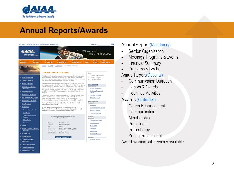 2 Annual Reports/Awards Annual Report ( Mandatory) - Section Organization - Meetings, Programs & Events - Financial Summary - Problems & Goals Annual Report (Optional) -Communication Outreach -Honors & Awards -Technical Activities Awards (Optional) -Career Enhancement -Communication -Membership -Precollege -Public Policy -Young Professional Award-winning submissions available